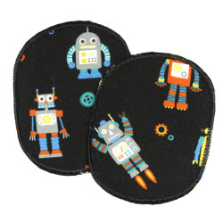 Iron-on patches in a set of 2 patches with friendly robots for children printed in color on black