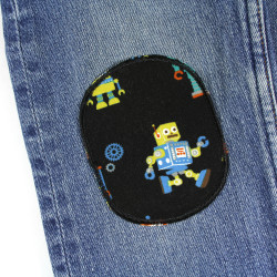 2 iron-on patches with a robot motif for repairing trousers ideal for the knee