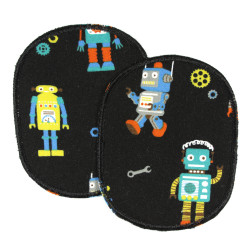 Set of 2 colorful robots on a black background for children