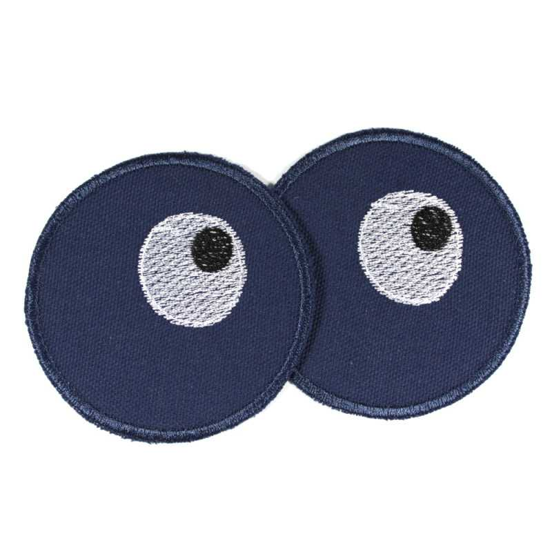 2 round iron-on patches made of blue organic cotton embroidered with eyes