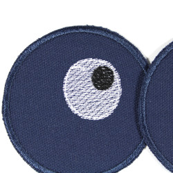 2 round trouser patches for children to iron on organic cotton blue with eyes as a motif