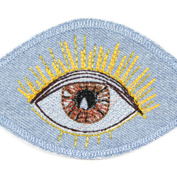 Iron-on patch with brown eye embroidered with metallic glitter and neon thread