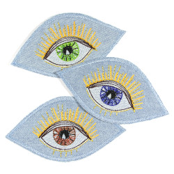 Iron-on patch brown eye, also available in other iris colors