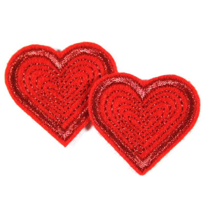 2 small iron-on heart patches in a set with metallic thread and glitter effect
