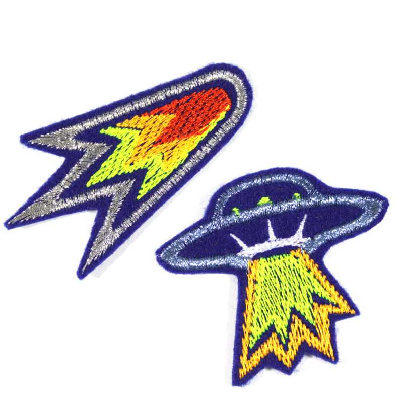 Metallic patches for ironing on UFO and comet iron-on patches space with neon colors in a set