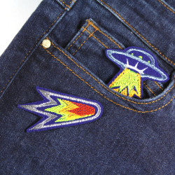2 small glitter patches UFO and Komet for adults as accessories to iron on