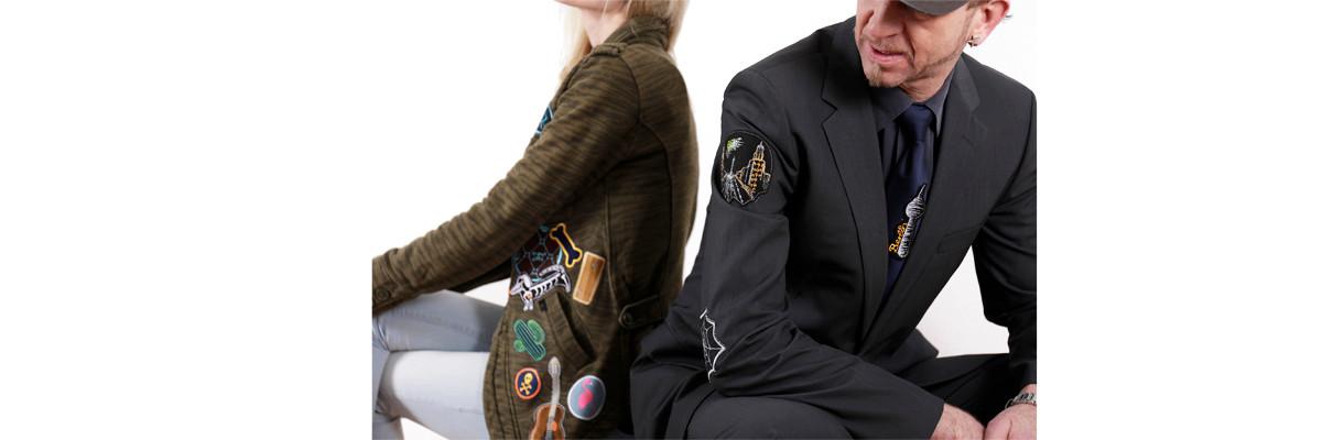 Bügelbilder für Erwachsene Männer und Frauen Aufbügler cool modern Applikationen zum aufbügeln Anzug Jacke Damen Herren modisch individuell