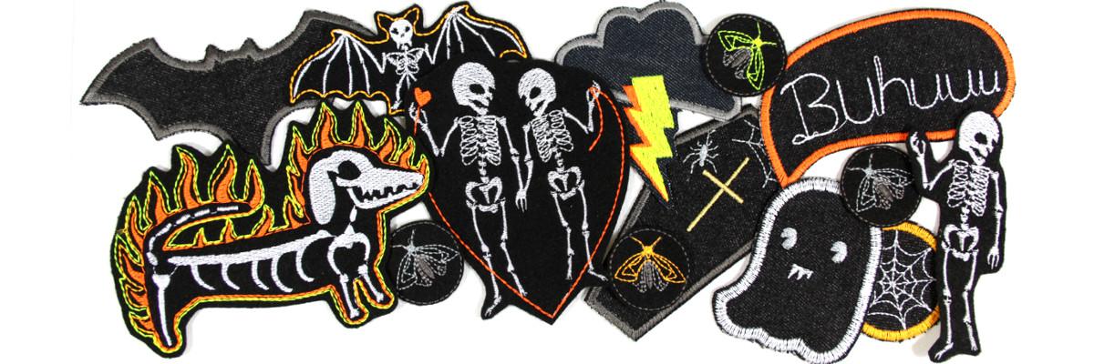 Aufnäher Skelette Halloween Bügelbilder patches zum aufbügeln Flicken für Fasching und Karneval Aufbügler