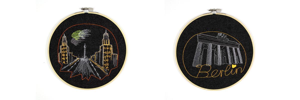 Brandenburger Tor und Frankfurter Tor gestickt im Stickrahmen zum aufhängen Zimmer Dekoration besonderes Geschenk Berlin Wertstück Flickli
