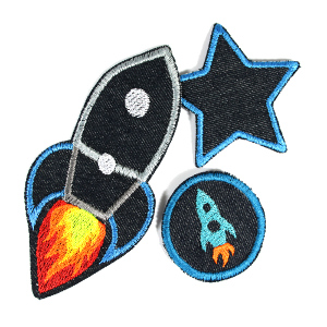 3 Flicken Rakete und Stern buegelbilder aufbuegler Jeans denim patches flickli kinder