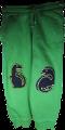 Kinderhose am Knie mit Dinosaurier Hosenflicken durch aufbügeln repariert.