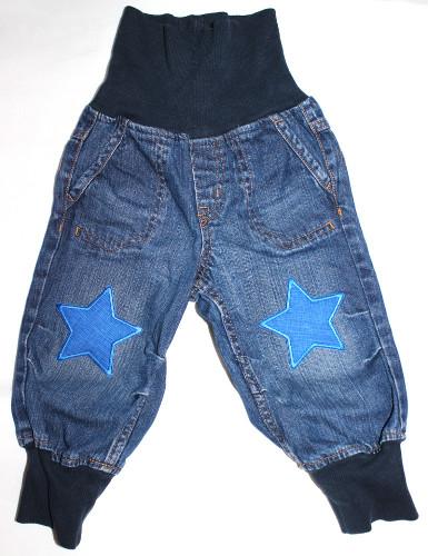 Jeanshose 80 mit Stern Knieflicken blau